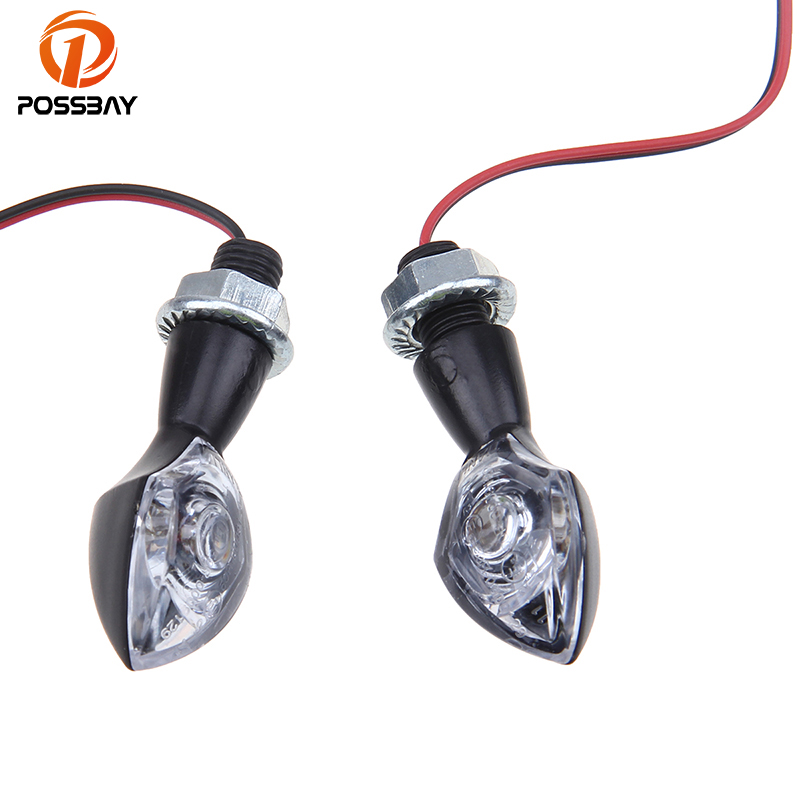 POSSBAY Cool Black 12V Motorcycle LED Turn Signals Light Street Bike Scooter Lamps Universal for Harley Kawasaki Cafe Racer