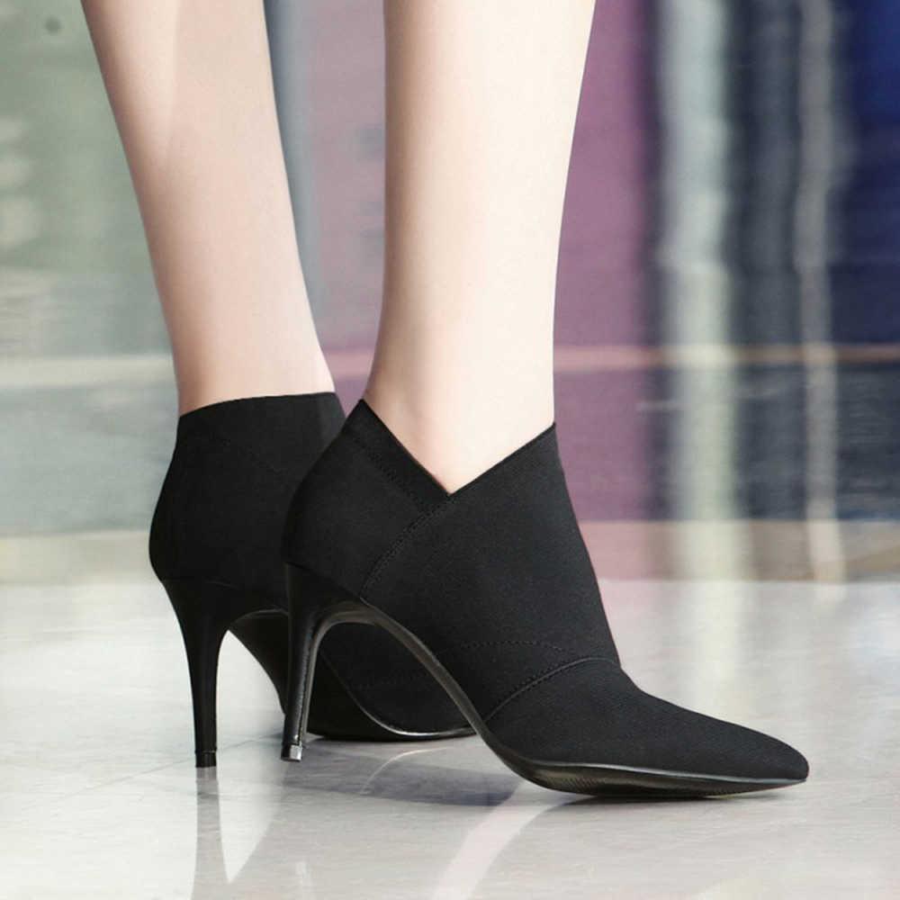 Новинка 2019, осенне-зимние модные женские ботинки, женские кожаные ботильоны на высоком каблуке, пикантные Ботинки martin с острым носком, Черная женская обувь