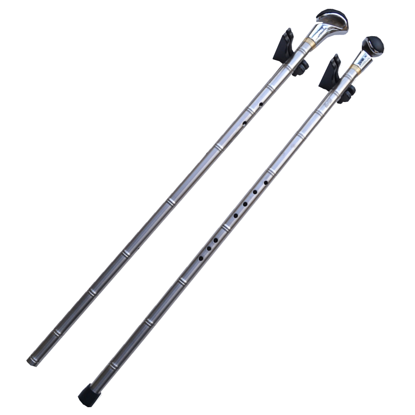 цена на Metal Titanium Flute Xiao + Walking Stick G/F Key Vertical Flute Xiao Flauta Profissional Music Instrument Self-defense Weapon