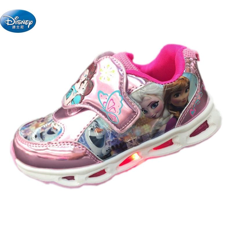 Disney frozen girls Casual Shoes with light girls 2018 elsa and Anna princess cartoon sneakers Europe size 28-33 disney frozen my size elsa