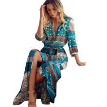S-5xl Plus Size Women Long Maxi Dresses Bohemia V-neck Floral Print Ethnic Spring Summer Beach Female Split Stylish Style Dress(China)