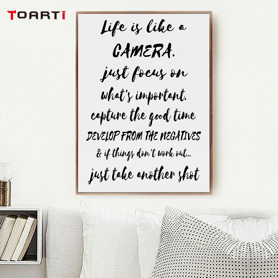 Image 5 - Black Camera Prints Posters Modern Life Quotes Canvas Painting Nordic Letters Wall Art Pictures For Living Room Home Decoration-in Painting & Calligraphy from Home & Garden