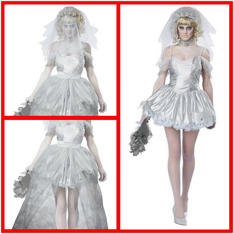 Wedding Dress Halloween Costume,Evil Cemetery Ghost Couple Groom Corpse Bride Horror Wedding Dress Zombie Bride Dress Up Cosplay