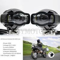 Universal Motorcycle farol auxiliar headlight lamp Moto LED Fog lights with USB Charger For Harley Chopper Cafe Racer BMW