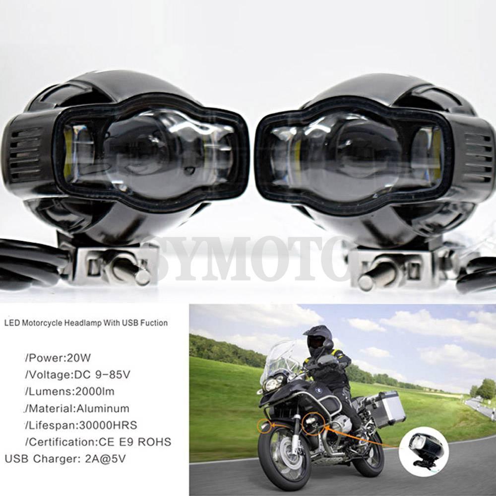 Universel Moto farol lampe phare auxiliaire Moto LED antibrouillard avec chargeur USB pour Harley Chopper café Racer BMW