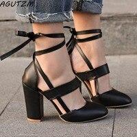 בתוספת גודל 35-42 נשי נעלי נשים אישה משאבות עקבים גבוהים גלדיאטור נשי חתונה רצועת קרסול Mujer Zapatos sapato