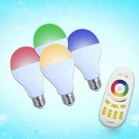 Jiawen E27 6W RGB+white led bulb Mil.light smart light lamp ,wireless 2.4G remote controller