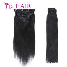 #1 clip in human hair extensions 7A kinky straight clip in hair extensions 7pcs 8pcs lot clip hair extension natural black hair