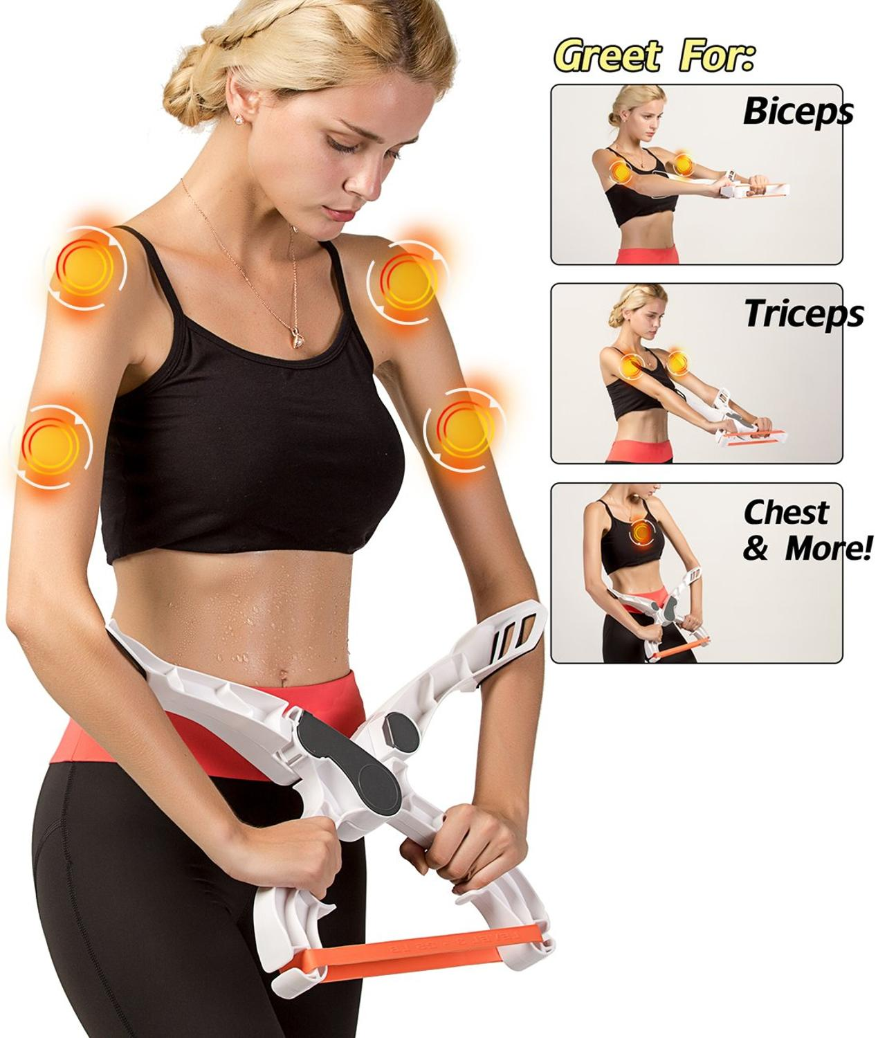 Arm Workout Machine System Excerise With 3 System Resistance Training Bands Fitness Equipment For Women Tones Strengthen