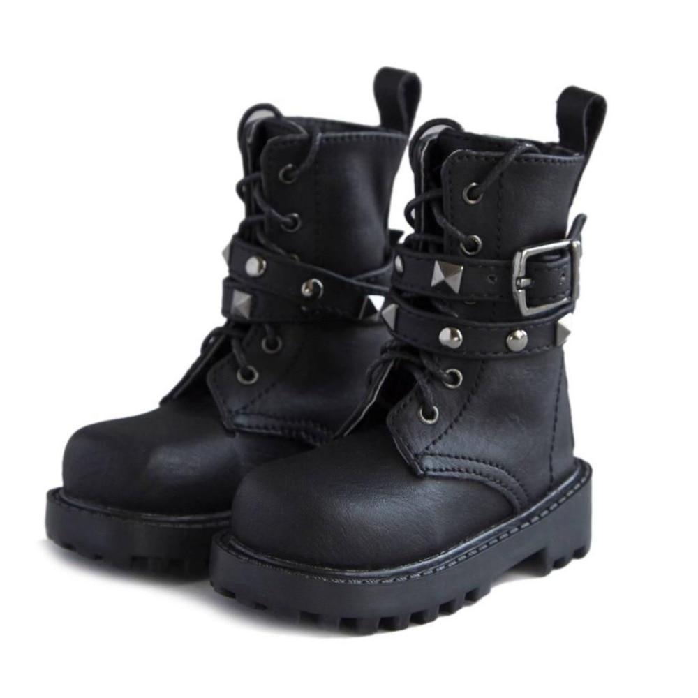 [wamami] 46# Black 1/4 MSD Locomotiv BJD Dollfie Rivet Synthetic Leather Shoes/Boots