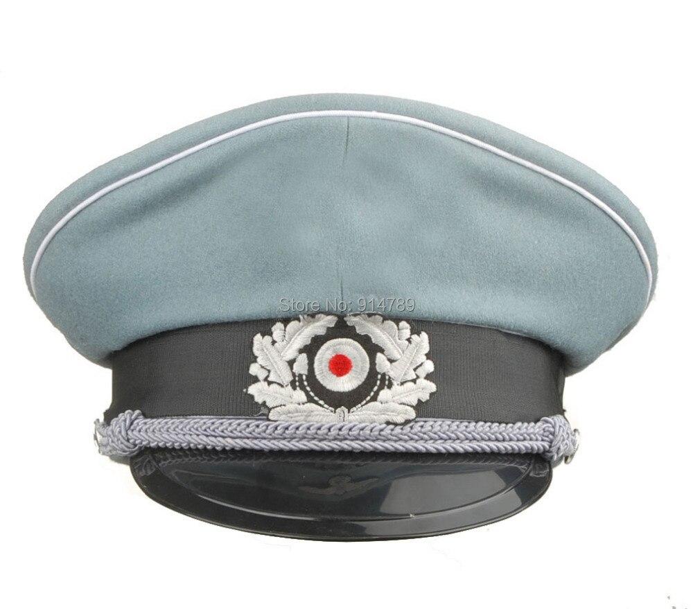 Giyim Aksesuarları'ten Askeri Şapkalar'de WW2 alman WH M36 memuru yün kırıcı kap çene kordon boyutu L 34176 title=