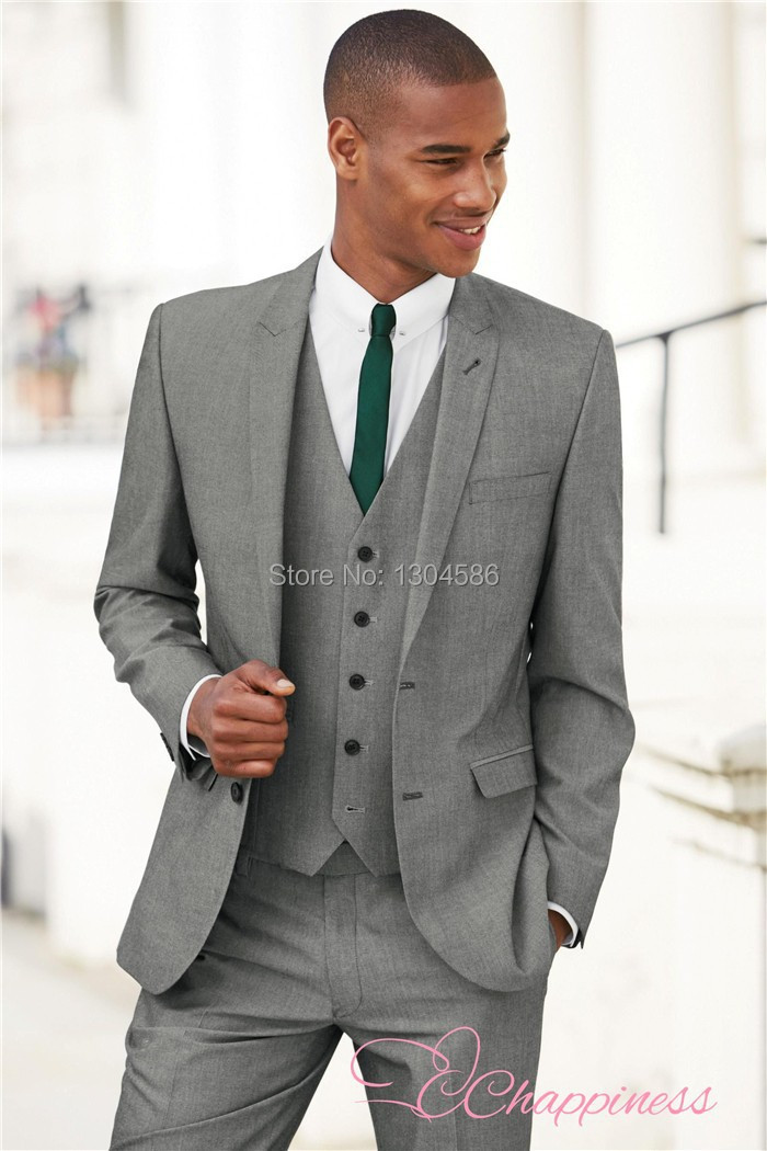 new arrive custom made men suit 3 pieces mens light grey suit ...
