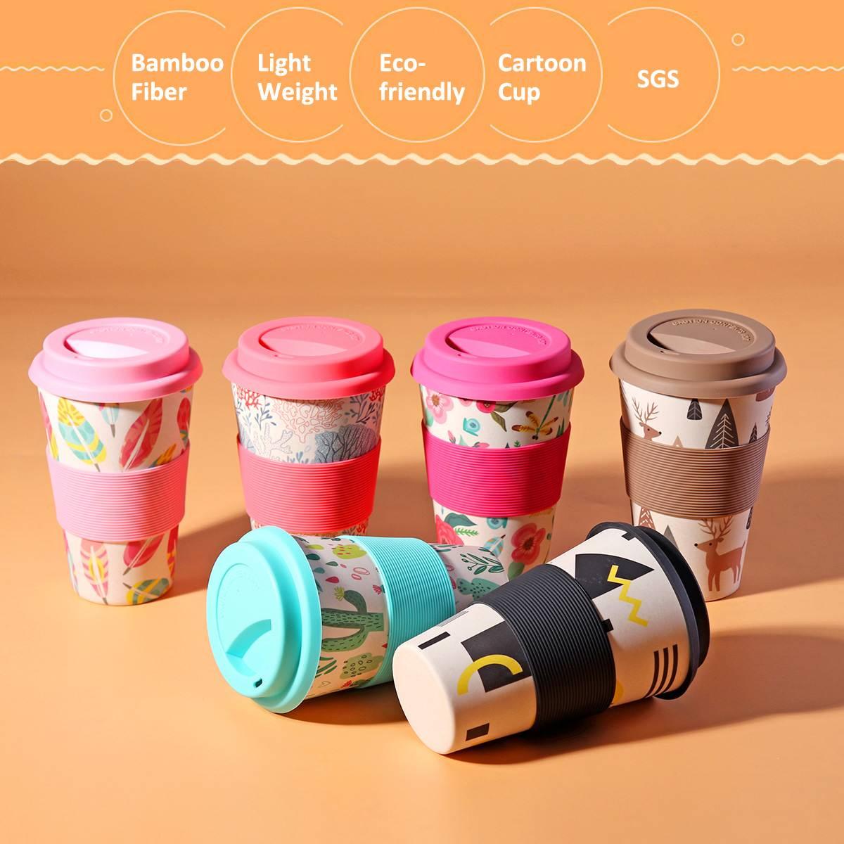 400ml Tragbare Praktische Mehrweg Bambus Faser Silikon Kappe Kaffee Tassen Eco Freundliche Non-slip Druck Reise Becher Nützlich