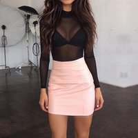 Women Sexy Rompers Jumpsuits 2017 Ladies High Neck Long Sleeve Mesh Bodysuits Playsuits See Through Casual