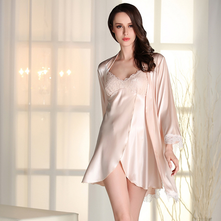Camisole nightdress for women Lace family matching pajamas sexy nightdress Three Quarter Sleeve Bathrobe Silk robe femme JG1520