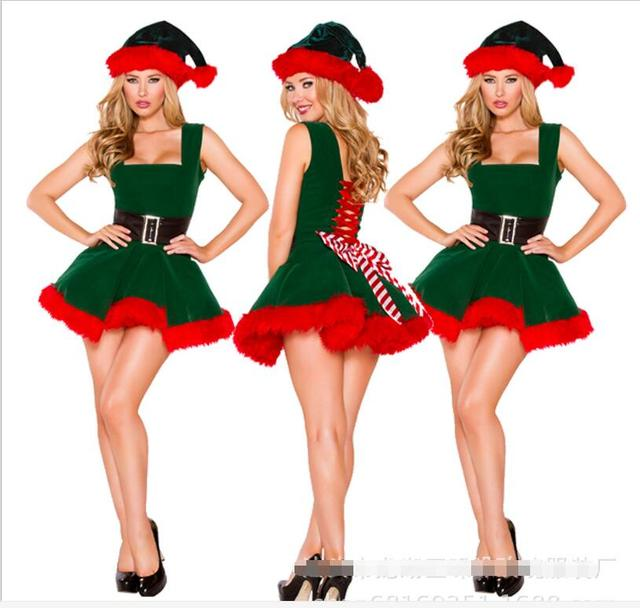 2017 fashion adults women slim fit sexy christmas suit costumes adult women santa claus cosplay christmas