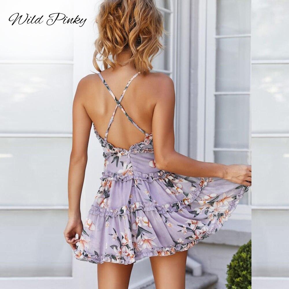Cotton Spaghetti Strap sundress Women Sweet Heart V Neck Boho Floral Print Mini Dress Frill Trim Magnolia Floral Print DressesL8 in Dresses from Women 39 s Clothing