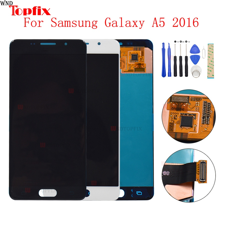 AMOLED LCD Display Touch Screen Digitizer For Samsung Galaxy A5 2016 A510 A510F A510M A510FD A510Y LCD Assembly Replacement PartAMOLED LCD Display Touch Screen Digitizer For Samsung Galaxy A5 2016 A510 A510F A510M A510FD A510Y LCD Assembly Replacement Part
