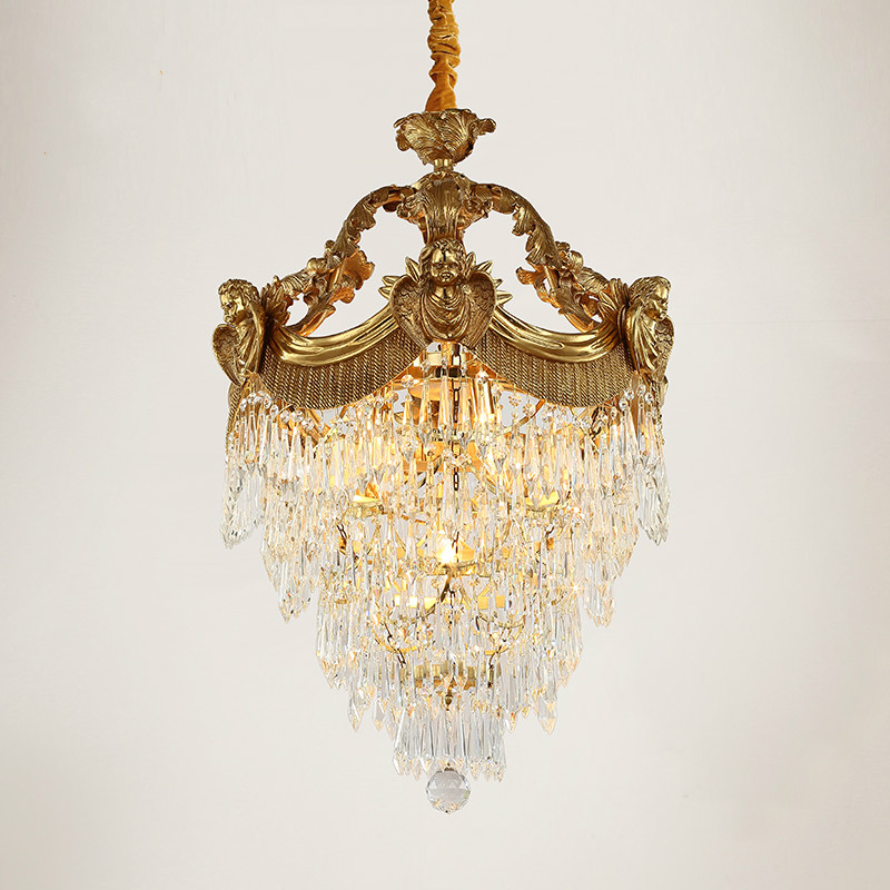 Free Shipping Bronze Antique Crystal Pendant Lamp Decorative Luxurious LED E14 Copper Crystal Lamp Lustre Suspension Lighting