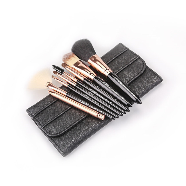Zoreya Brand 8pcs High Quality Synthetic Fibers Makeup Brush Set Powder Foundation Large Eye Shadow Angled Brow Brushes 3 Colors 5