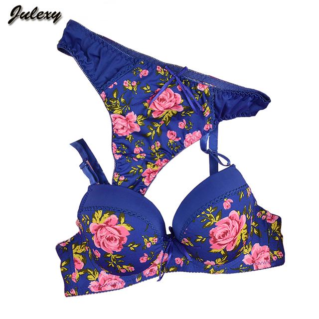 Julexy Sexy Brand 2016 Seamless printing BC women bra set French romantic lady bra brief sets thong underwear panty set