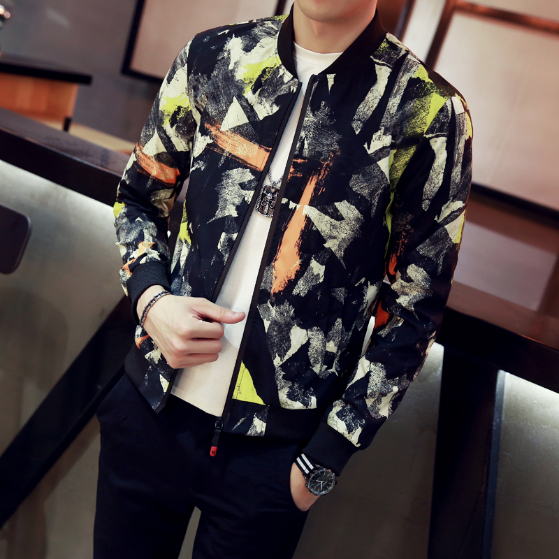 12Colors Jackets Men Autumn New Stand Collar Floral Bomber Jacket