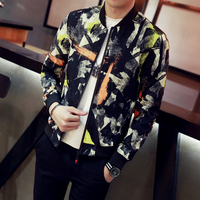 12Colors Jackets Men Autumn New Stand Collar Floral Bomber Jacket Slim Fit Long Sleeve Casual Camouflage Coats Men Windbreaker