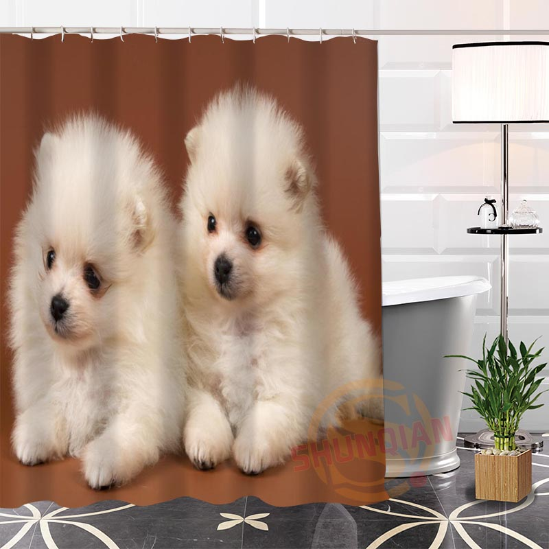 New Eco-friendly Custom Unique cute dogs Fabric Modern Shower Curtain bathroom With Hooks for yourself H0220-12