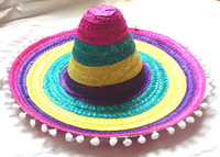 Children's Adult Large Mexican Hat Role Playing Mexican Sun Cap New Arrival Halloween Make Up Hat with Pompoms B-2914