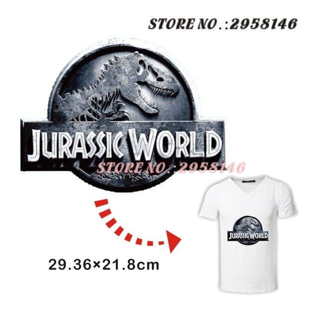 Jurassic Park Tyrannosaurus Raptor Iron-on Patch for Men Boy Clothing Heat Transfer Hot Pressing Ironing Pyrography Vest sticker