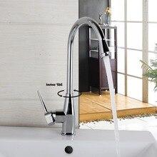 Поворотный Кухня Раковина кран Chrome отделка поток носик без вытащить коснитесь горячей и холодной воды смесители для кухни смесители