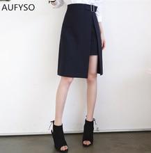 AUFYSO Fashion Skirts Womens 2018 Korean Style Asymmetrical font b Slim b font High Waist Pencil