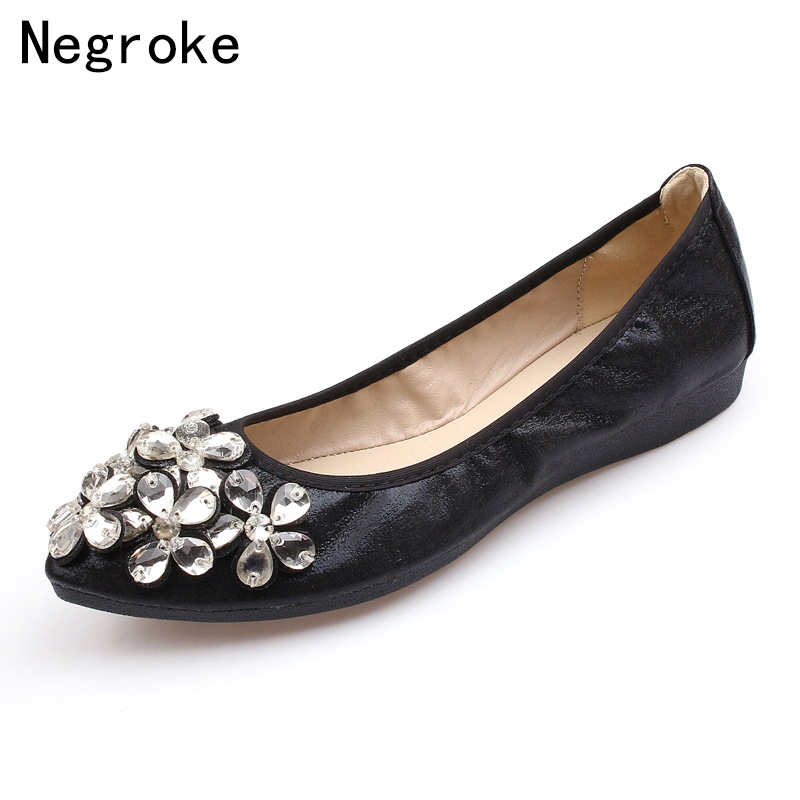 7c2931914b7 Sexy Rhinestone Glitter Shoes Women Casual Flats 2019 Handmade Leather Slip  On Loafers Soft Moccasins Zapatos Mujer Plus Size-in Women s Flats from  Shoes on ...