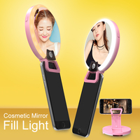LED Flash Fill Light And Cosmetic Bag Universal Makeup Mirror Phone Holder For IPhone SE X
