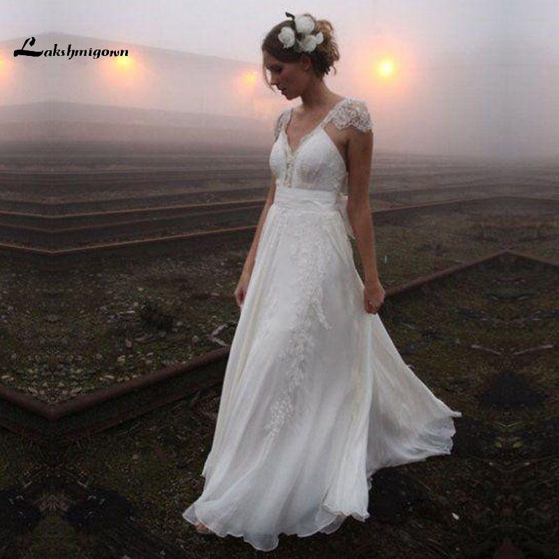Hot Sale Modest Spring Beach Lace Wedding Dress Cap Sleeves ...