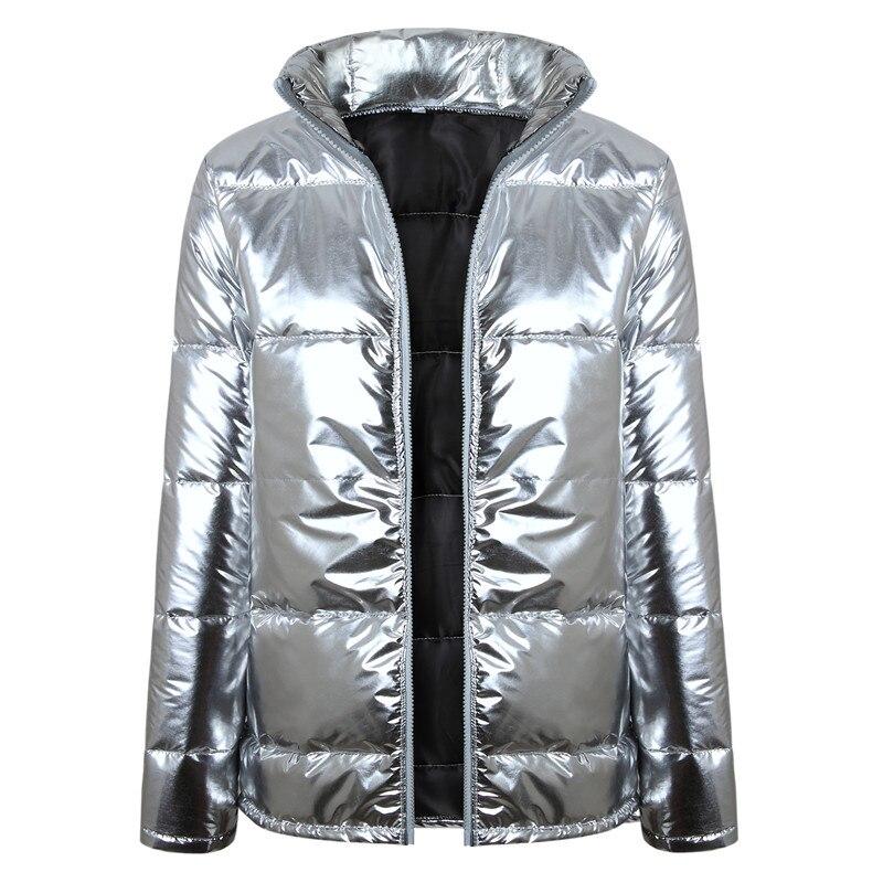 Sale Shop \u003d Zipper Parka Women Stand Collar Puffer Jacket Coat Silver Shiny  Warm Jackets Femme Padded Parkas Snow Wear Winter Fashion 2018,in Parkas  from