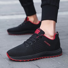 Discount Men Casual Shoes Stretch Fabric Breathable Fashion Sneakers 2019 New Lace-Up Brand Man Plus Size 39-44