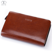 YINTE Men's Clutch Wallets Leather Business Men Wallet Purse Fashion England Style Brown Clutch  Purse Card Holder Bags T8047-2