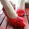 2017 new fashion women party shoes red color bow party shoes for women lace bowtie sweet women's pumps party shoe