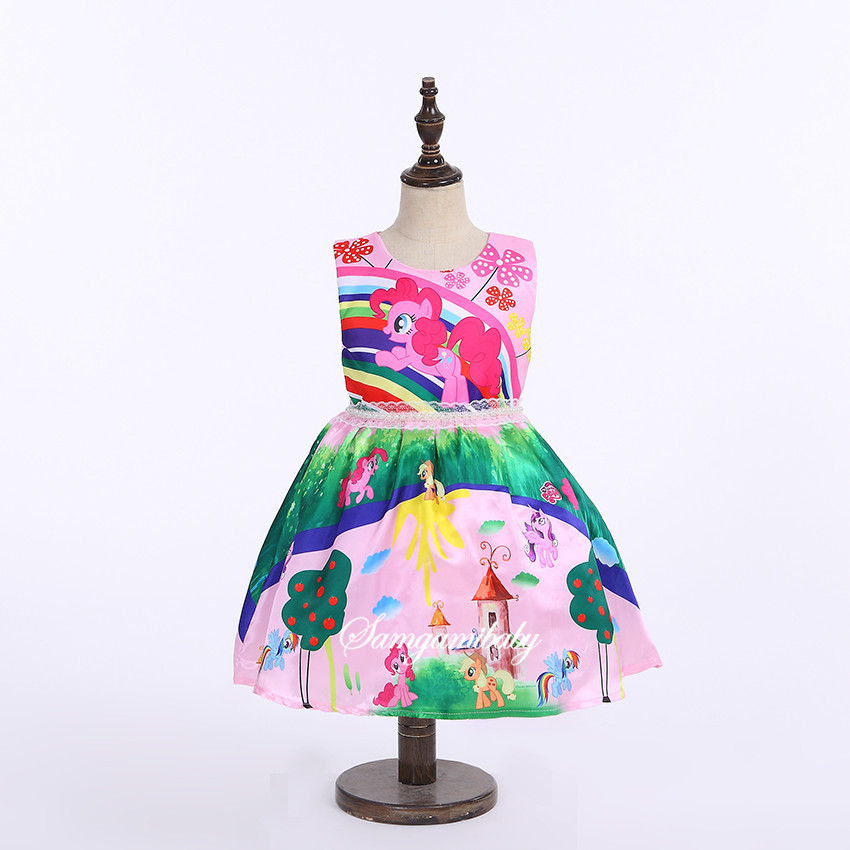 SAMGAMI BABY 2017 Summer Girls Clothing My Pony Dress,Sleeveless Girl Dress Roupas Infantis Menina Ropa Ninas Vestido Infantil summer style girls clothing for 6 14 years old girl baby girls pony dress sleeveless girl children clothing