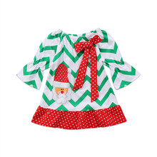 8431e91454df Christmas tree Fall/winter baby girls cotton Striped Bow dress ruffle  children clothes boutique outfits