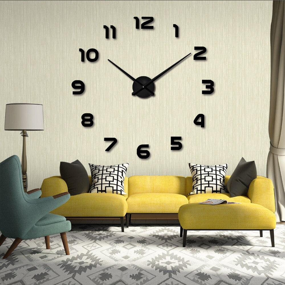 moda diy gran nmero d espejo etiqueta de la pared grande reloj decoracin reloj de arte