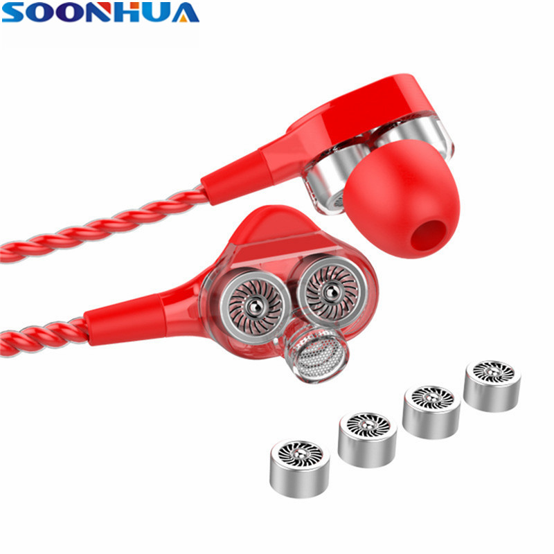 SOONHUA 3.5mm Wired In Ear Earphone Dual Driver Stereo Bass HiFi Headphone With Handsfree Mic 1.2m Wire Sports Headset For Phone