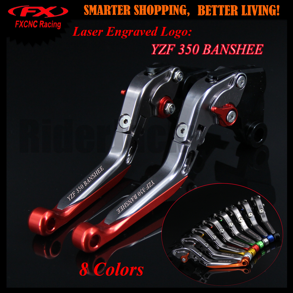 Logo Red+Titanium CNC Motorcycle Adjustable Brake Clutch Lever For Yamaha YZF 350 YZF350 Banshee 2002-2008 2004 2005 2006 2007 for yamaha yzf r15 2013 2016 aluminum cnc adjustable extending brake clutch lever blue