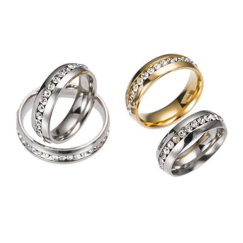 الجملة 100 قطعة مزيج الفضة و الذهب لهجة صف واحد حجر الراين الفولاذ المقاوم للصدأ الزفاف الفرقة مجوهرات خواتم-في أشرطة الزفاف من الإكسسوارات والجواهر على  مجموعة 2