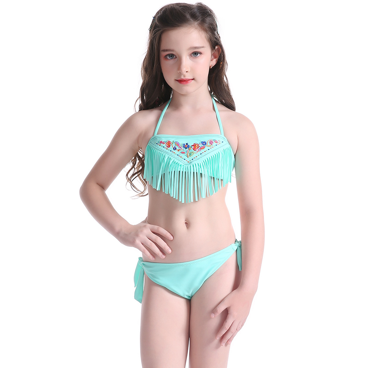 Girl Bikini Teenager Yong Laides Swimwear Embroidery Tassels Set 2 Pieces Baby Girl Swimsuits Bathing Suit Babies Swimming Suit