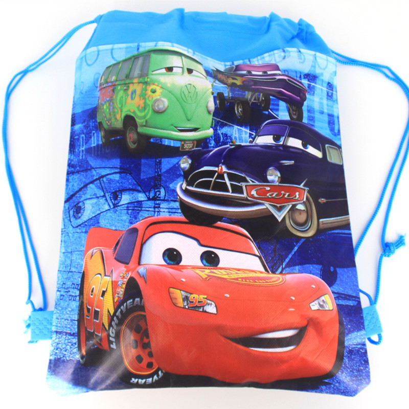 6pcs Cartoon Cars Theme Non-woven Bag Fabric Backpack Child Travel School Bag Decoration McQueen Drawstring Gift Bag
