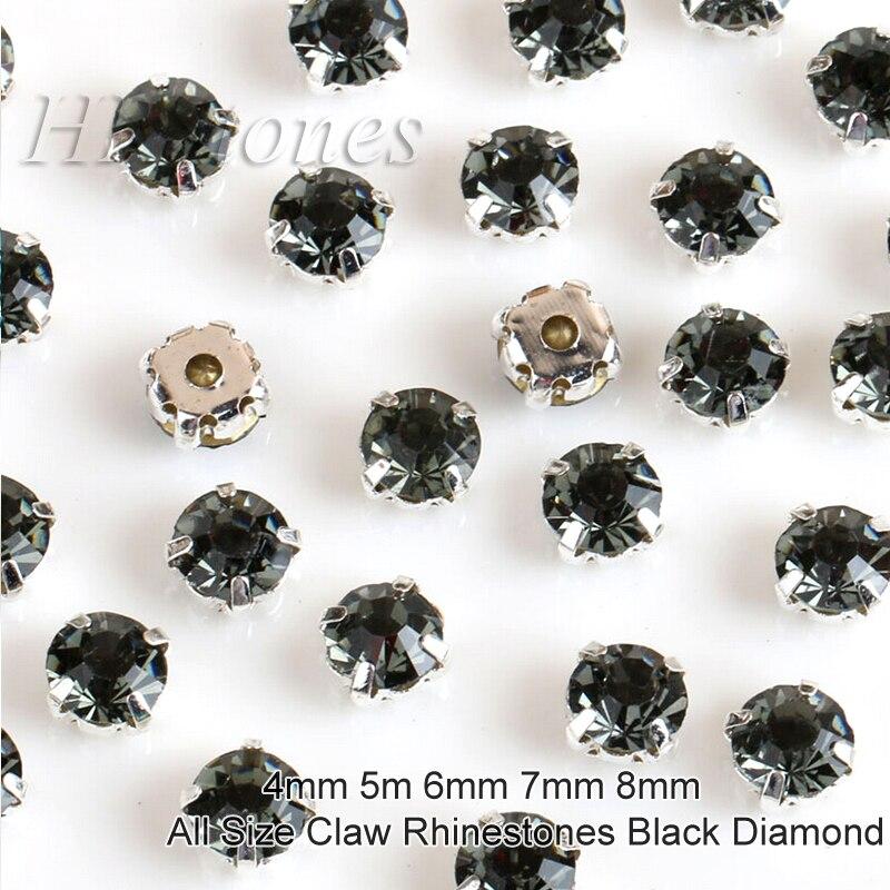 De mariage Strass Cristaux Noir Diamant 4mm 5mm 6mm 7mm 8mm Pierres Argent Base de Couture Strass pour les Vêtements