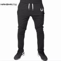 NANSHA 2017ผู้ชายโรงยิมกางเกงยางยืดสบายๆผ้าฝ้ายบุรุษกาง