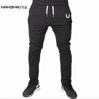 NANSHA 2017 חדרי כושר גברים מכנסיים אימון כושר כותנה אלסטיים מקרית Mens מכנסיים סקיני, מכנסיים טרנינג מכנסיים אצן